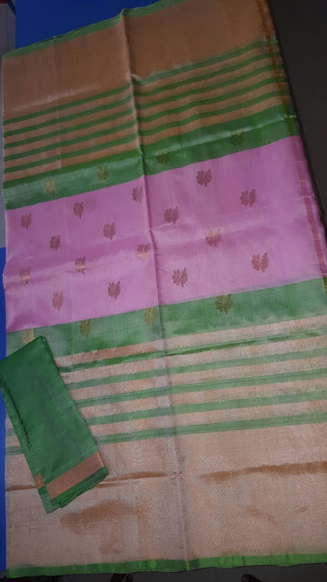 Uppada Handloom Pink with green color lines saree