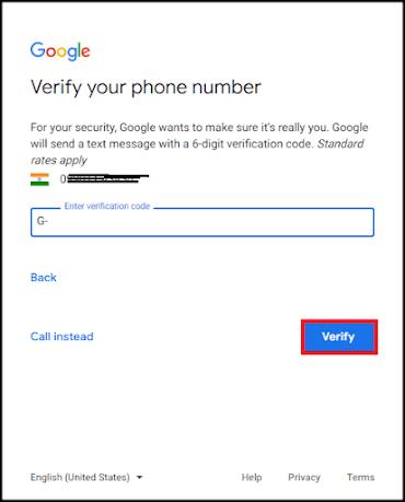 Enter Gmail OTP Gmail New Account Kaise Banaye