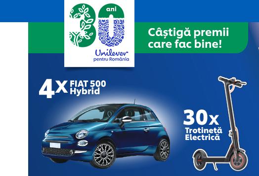 Sarbatoreste 30 de ani de fapte bune alaturi de marcile cu traditie de la Unilever si poti castiga la concurs 4 autoturisme Fiat 500 Hybrid sau 30 de trotinete electrice - castiga.net