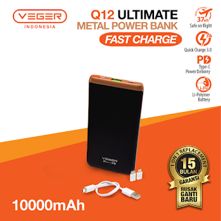 Power Bank VEGER ULTIMATE Q12 10000mAh Quick Charge 3.0 Fast Charging