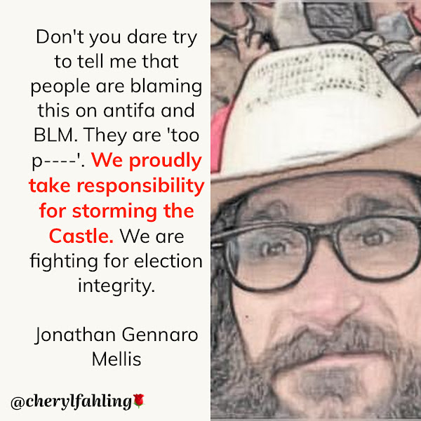 Don't you dare try to tell me that people are blaming this on antifa and BLM. They are 'too p----'. We proudly take responsibility for storming the Castle. We are fighting for election integrity. — Jonathan Gennaro Mellis