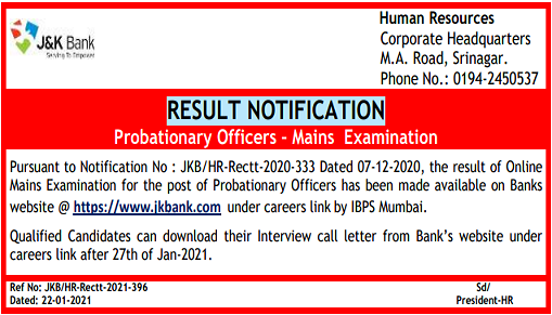 JK Bank PO Mains Result 2021