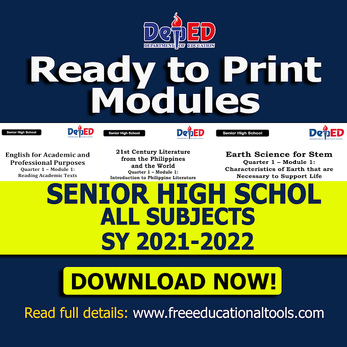 DepEd ALL Subject SHS e-SLMs | Ready-to-print Modules School Year 2021-2022 | Download Now