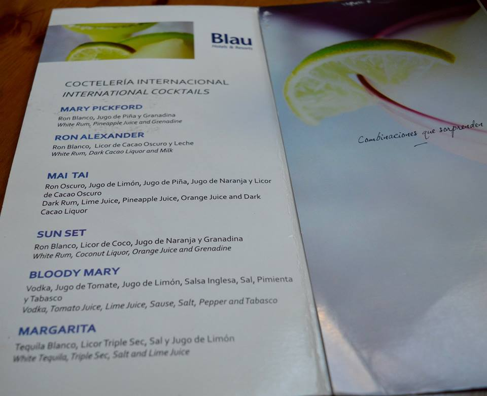 The all inclusive Cocktail menu at Blau Varadero, Cuba - menu
