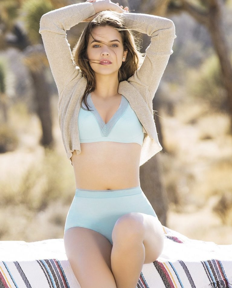 Model Barbara Palvin poses in blue lingerie for Aimer summer Latest campaign