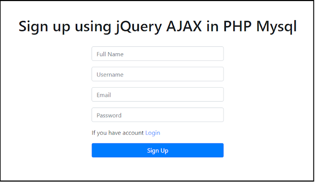 Sign up or registration using jQuery AJAX in PHP Mysql