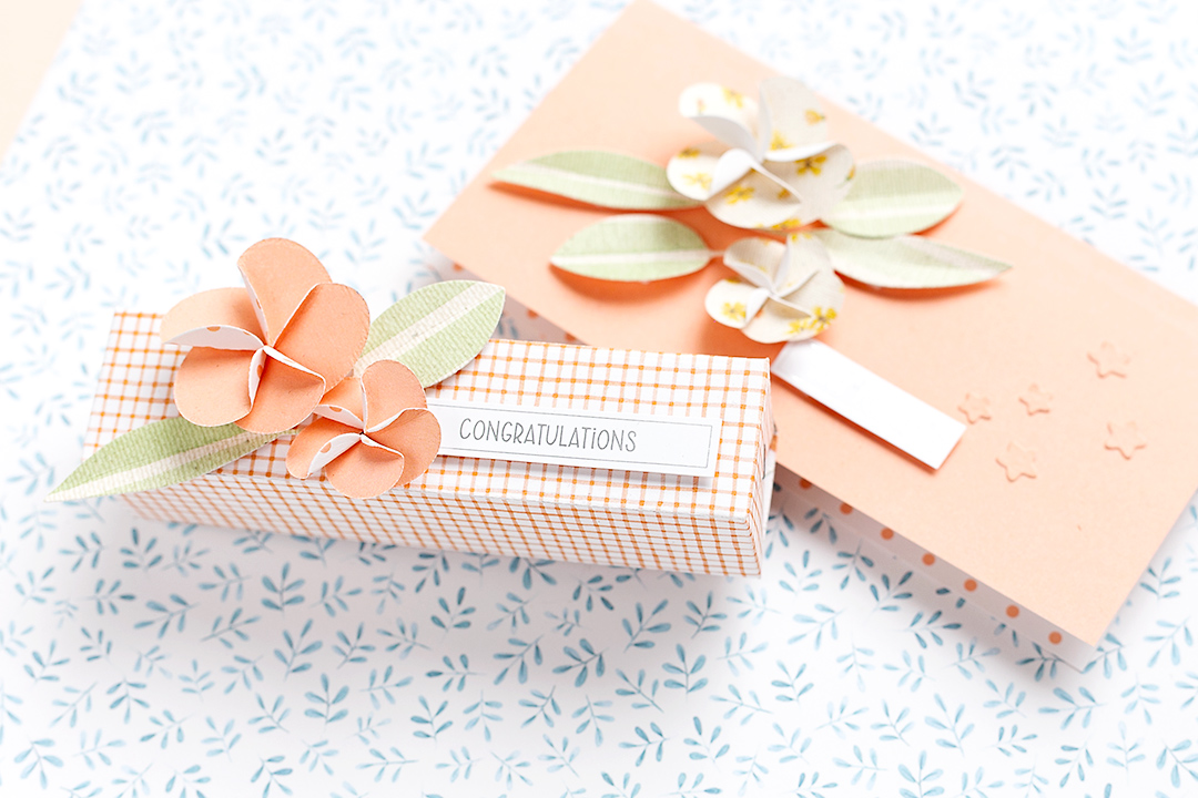 Treat box with delicate frangipane flowers