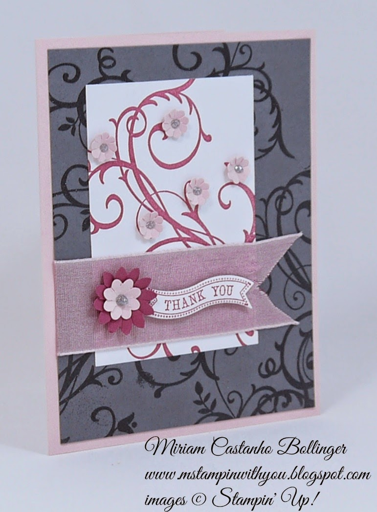 Miriam Castanho Bollinger, #mstampinwithyou, stampin up, demonstrator, rs152, ppa238, baroque motif, itty bitty banners, heat embossing, boho blossoms, big shot, bitty banners, thank you, su