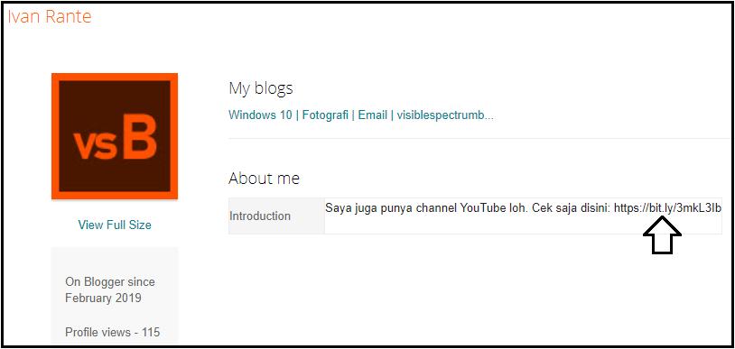Memakai profil blogger untuk menginformasikan akun YouTube