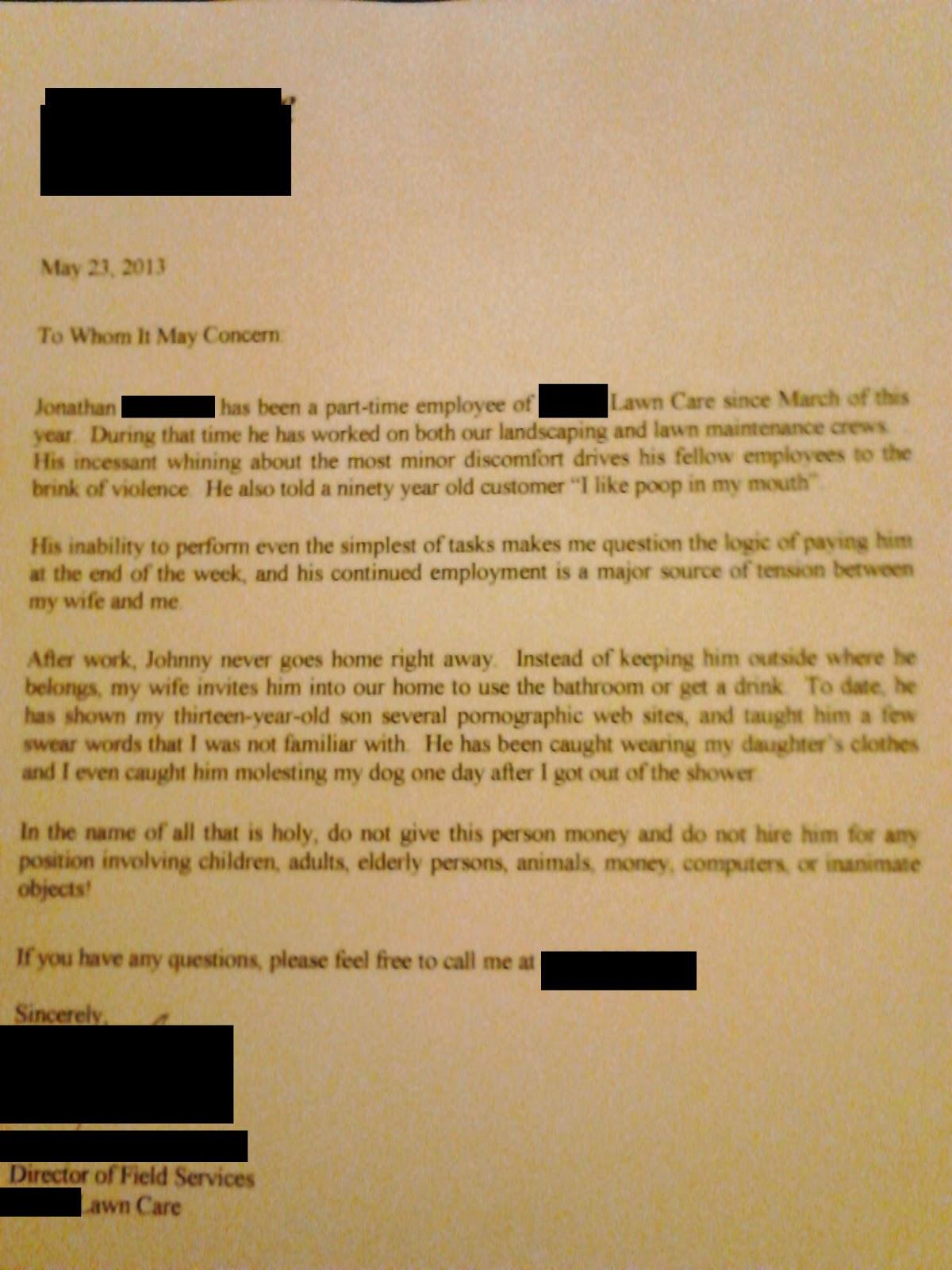 bad recommendation letter