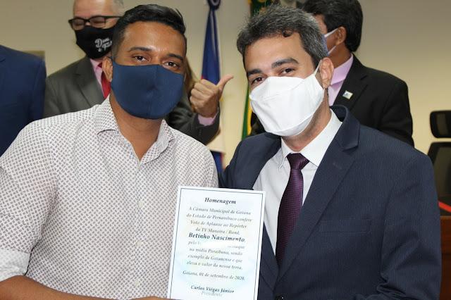 Jornalistas Jota Júnior e Betinho Nascimento recebem voto de aplauso da Câmara Municipal de Goiana
