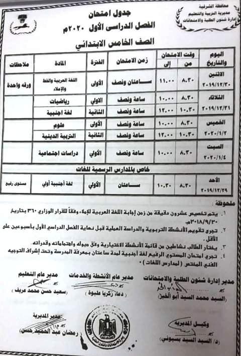 جدول امتحانات الصف الخامس الابتدائي محافظة الشرقية الترم الأول 2020