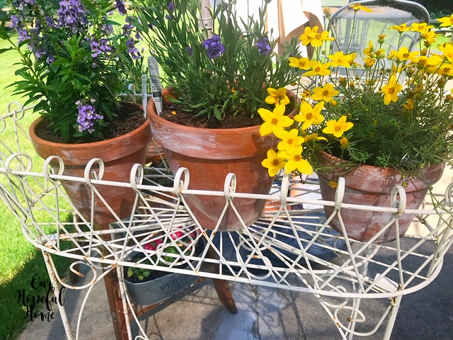vintage French wire plant stand aged clay pots lavender yellow flowers