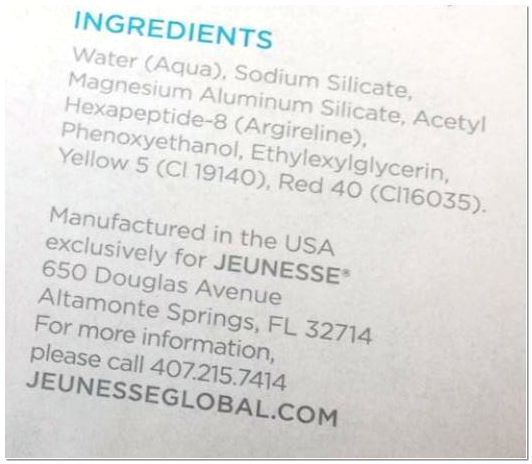 Jeunesse ageless ingredients