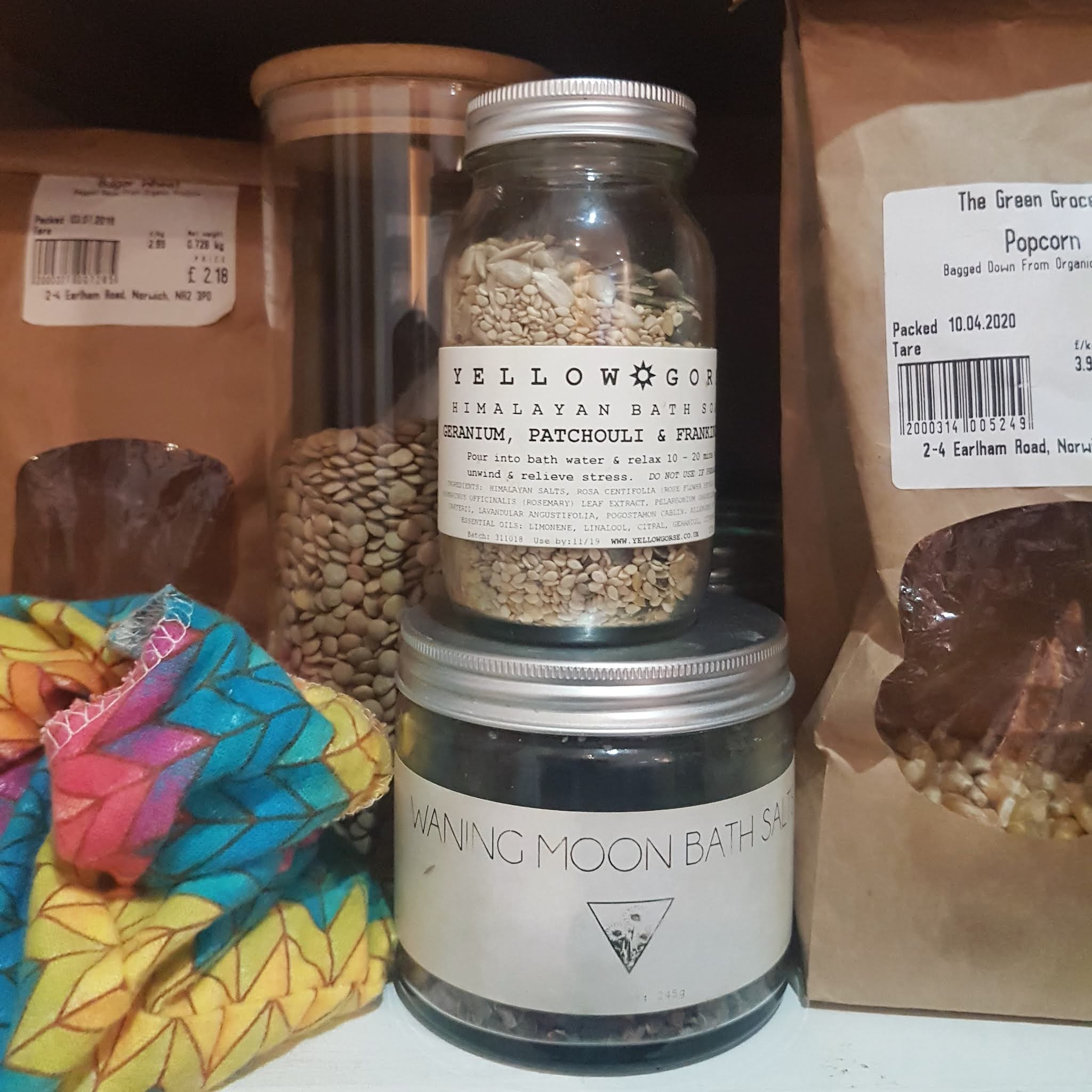 Empty bath salts jar repurposed into pantry staple, upcycled food storage