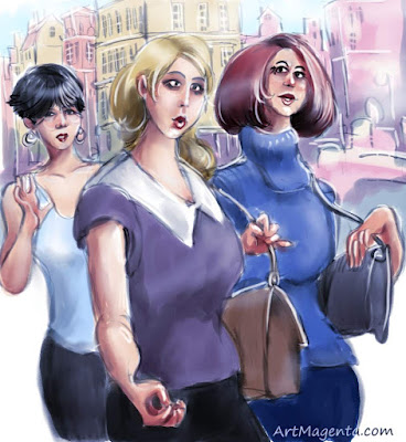 Shopping is a caricature by artist and illustrator Artmagenta