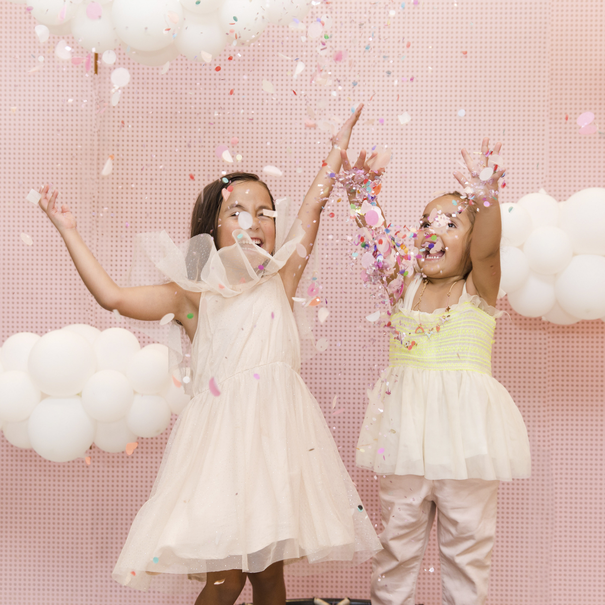 pink sky balloon clouds photo booth kids party
