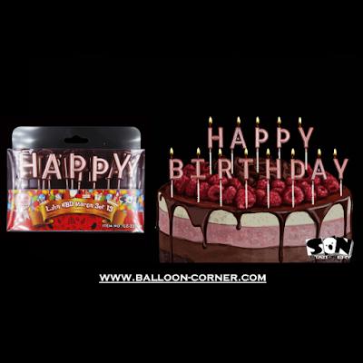 Lilin Ultah Motif HAPPY BIRTHDAY Warna Rose Gold (SON Product)