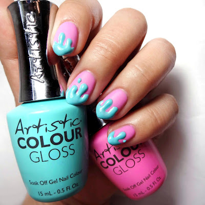 Pink and Blue Drip Nails
