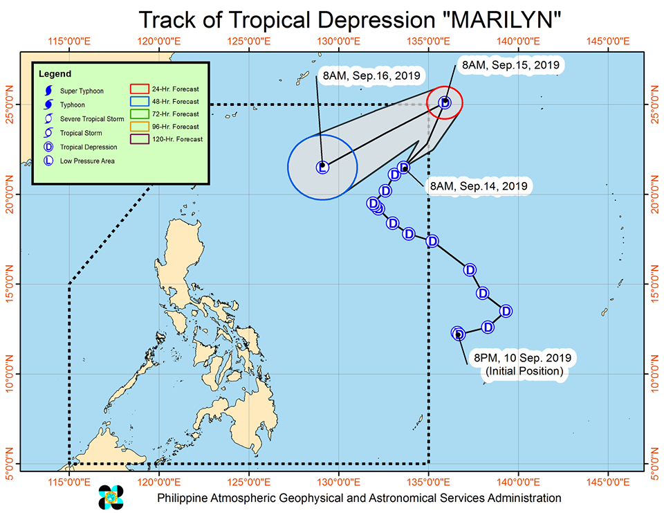 Latest satellite image of Tropical Depression 'Marilyn'