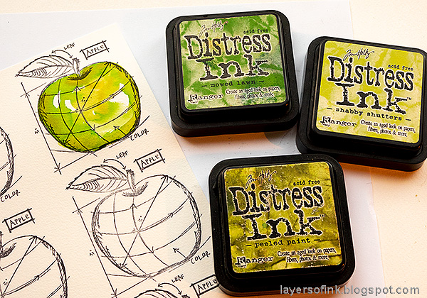 Layers of ink - Watercolor Apples Art Journal Tutorial by Anna-Karin Evaldsson. Watercolor the green apple with Distress Ink.