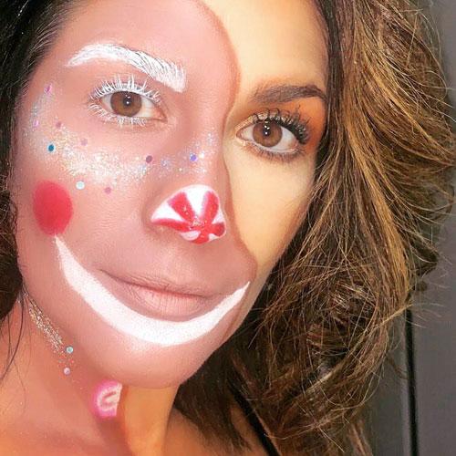 Maquillaje de media cara para Navidad