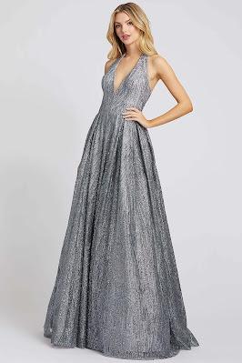 Halter A-line Ieen For Mac Dugga Evening Dress Platinum Color