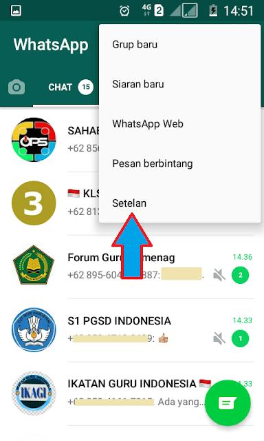 menu setelan WhatsApp