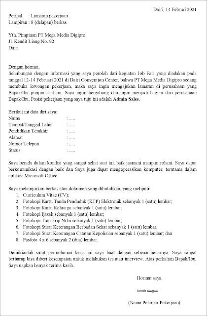 Contoh Surat Lamaran Pekerjaan Untuk Admin Sales (fresh graduate)
