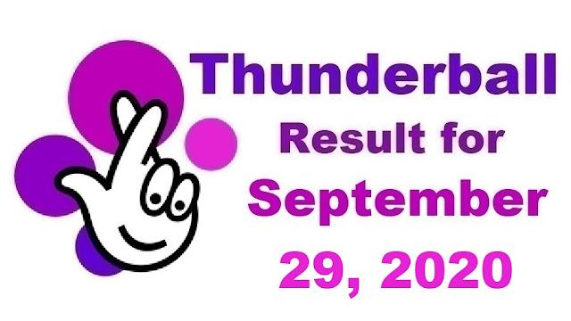 Thunderball Results for Tuesday, September 29, 2020
