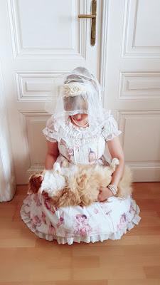 pieta recreation with auris and her cat maja