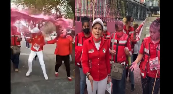 Bañan de pintura a candidata del PRI en calles de Naucalpan, es lamentable dicha acción, dicen usuarios