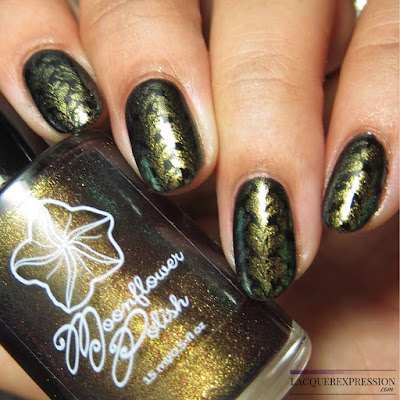 Moonflower Polish Hidden Rose nail polish stamped over black