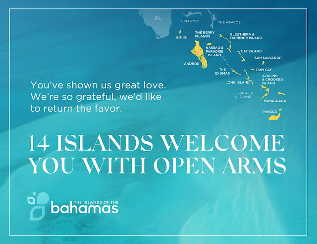 map of the Bahamas with islands open
