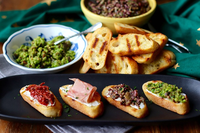 Grilled Crostini with olive tapenade