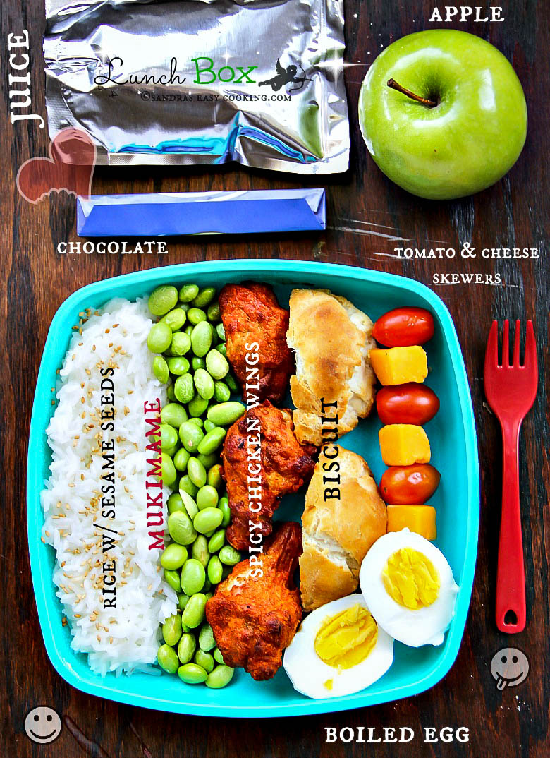 Lunch Box Rice Mukimame Chicken Wings Sandra S Easy Cooking