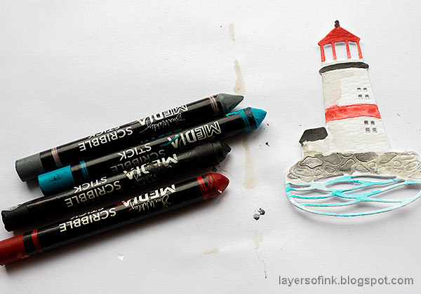 Layers of ink - Lighthouse Tag with crackle paste and mica flakes by Anna-Karin Evaldsson. Watercolor the lighthouse.