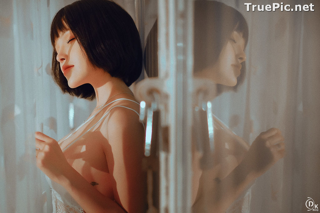 Image Vietnamese Model – Cute Short-haired Girl in White Sexy Sleepwear - TruePic.net - Picture-3