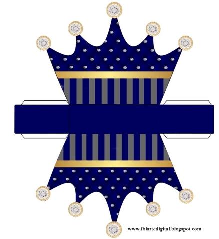 Corona Dorada en Azul y Brillantes: Caja con Forma de Corona para Recuerdos de Bodas para Imprimir Gratis.