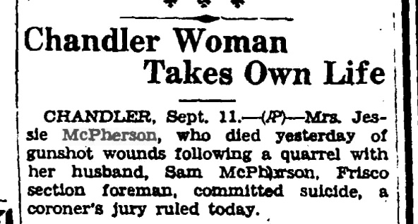 Jessie McPherson Death Ruled Suicide - Ancestry Chick
