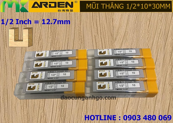 Mũi Router phay gỗ thẳng ARDEN 1/2*10*30mm