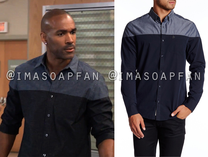 Curtis Ashford, Donnell Turner, Colorblock Chambray Shirt, General Hospital, GH