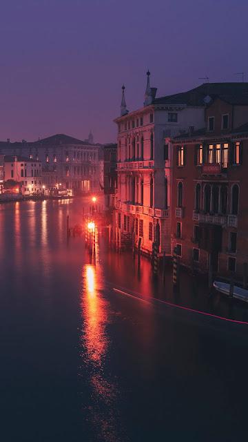 City, evening, Venice, Italy, houses