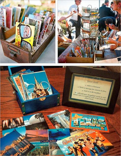 Postales de diferentes lugares como libro de firmas de tu boda - Foto: Wedding Photography
