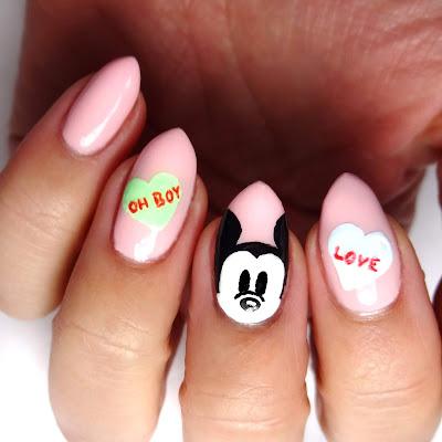 Disney Conversation Heart Nails