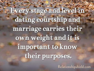 Every stage and level in dating courtship and marriage carries their own weight and it is important to know their purposes.