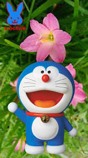 wallpaper doraemon pink biru