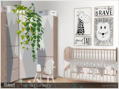 Nana nursery Нана питомник для The Sims 4 Набор мебели для дизайна детской комнаты в скандинавском стиле. Мебель в нежных розово-серых тонах. В набор входят 10 предметов: - декоративная кроватка - вымпелы - комод (3 варианта) - игрушечный конь - постеры - корзина для игрушек (2 варианта) - картонная коробка Детская кроватка декор! Но вы можете использовать детскую кроватку с помощью невидимого мода. Автор:Severinka_