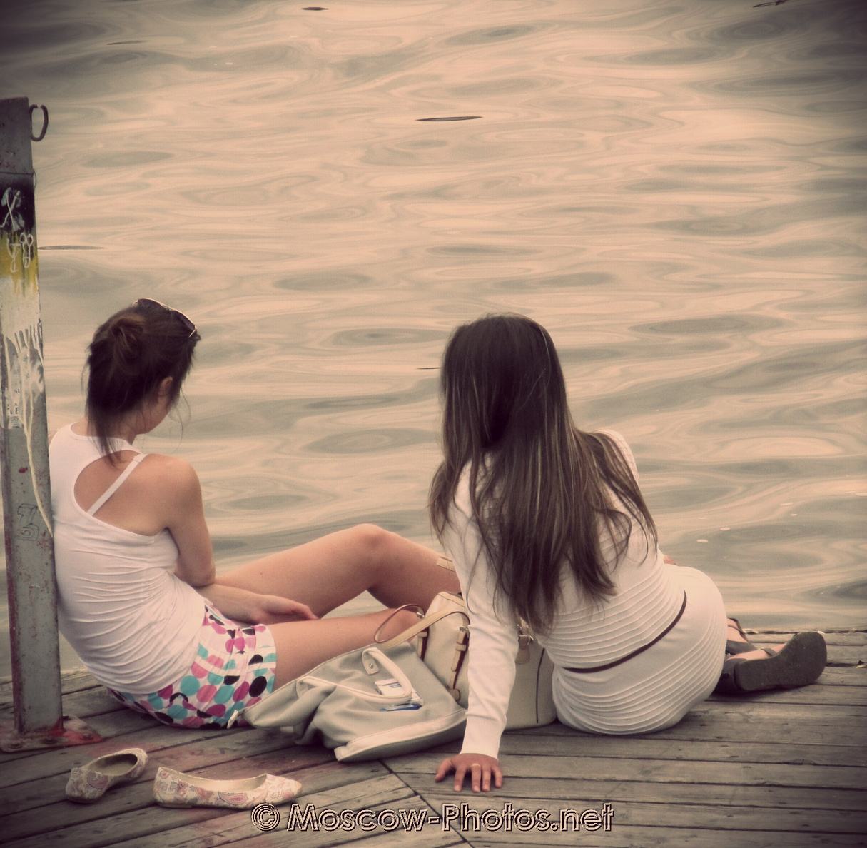 Relaxing girls at Moscow-river