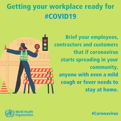 COVID-19 Coronavirus Update 28 Feb to 1 April advice for workplaces - if ill you have to stay home